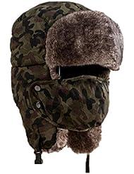Tongshi Suave impermeable unisex del camuflaje del sombrero del invierno del viento Máscara Varios métodos del desgaste del casquillo del sombrero caliente al aire libre a prueba de frío Rimq (verde)