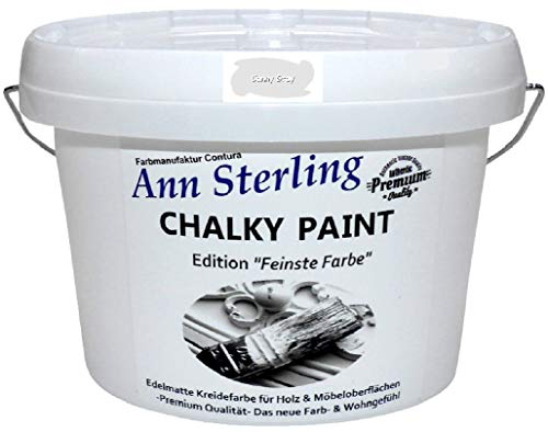 Ann Sterling Kreidefarbe Shabby Chic Farbe: Canny Grey/Grau 1,5Kg. / 1 Liter Lack Chalky Paint