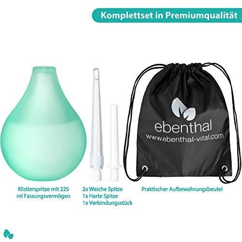 Darmeinlauf Klistier EBENTHAL VITAL® 225 ml • Premium Irrigator aus durchsichtigem Material zur hygienischen Darmreinigung • Einläufe zum Heilfasten und Entgiften •
