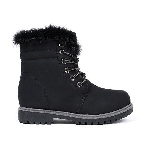 Ideal Shoes - Bottines style randonnée Leina Noir