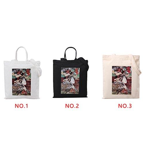 LUFA Japanische Art große Einkaufen Beutel Kursteilnehmer Beutel Segeltuch Schulter Beutel Strand Schultasche Weiß + 2 Gürtel mit Schnürung