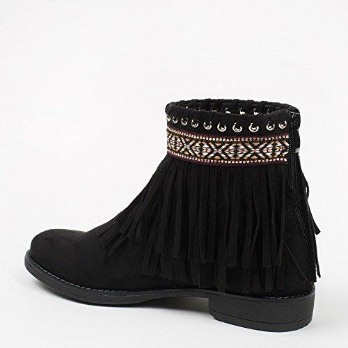 Ideal Shoes - Bottines à franges style indien Madelyn Noir