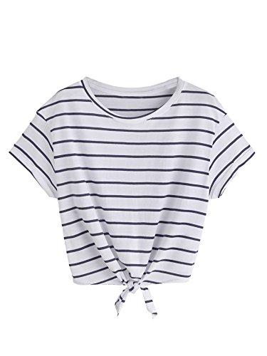 ROMWE Damen Gestreift Crop Top Kurzarm Streifen Shirt Weiß L
