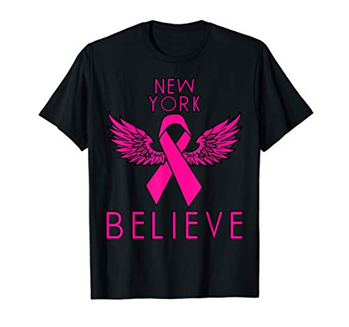 NEW YORK Believe Breast Cancer Support Women's Breast Cancer T-Shirt -