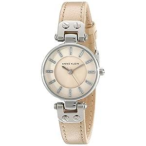 Anne Klein Women's AK/1951TMTN Silver-Tone Watch with Tan Leather