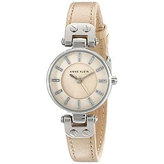 Anne Klein Women's AK/1951TMTN Silver-Tone Watch with Tan Leather Strap