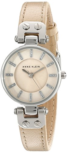 Anne Klein Women's AK/1951TMTN Silver-Tone Watch with Tan Leather Strap - Tan Womens Shorts