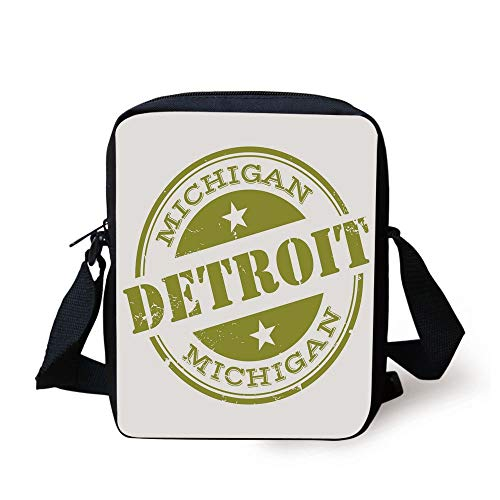 Detroit Decor,Aged Grunge Detroit Michigan Stamp Design with Stars Tourism Travel Decorative,Olive Green White Print Kids Crossbody Messenger Bag Purse -