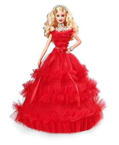 Barbie magia delle feste 2018 bambola bionda da collezionare per natale, colore altro, norme, frn69