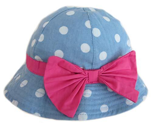 Gifts Treat Mädchen Eimer Hut Sommer Sonnenhut Faltbare Baumwolle Boonie Hut mit Ggroßen Fliege - (6 Monate-5 Jahre) (Denim-Punkte Bogenknoten, 53CM) Mädchen Hut