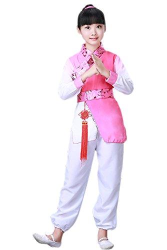 BOZEVON Kinder Jungen & Mädchen Performance Kleidung, alte Chinesische Traditionelle Kostüme, Cosplay Kostüme, Oberteile +Hose + Kopfschmuck+ China Knoten (Stil 4,EU 90 = Tag 100) (China Kostüm Kopfschmuck)