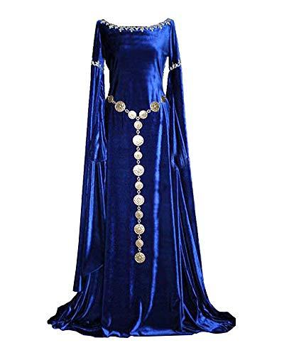 Damen Langarm Mittelalter Kleid Gothic Viktorianischen Königin Kostüm Mit Spitze Und Rundhalskleider Blau M