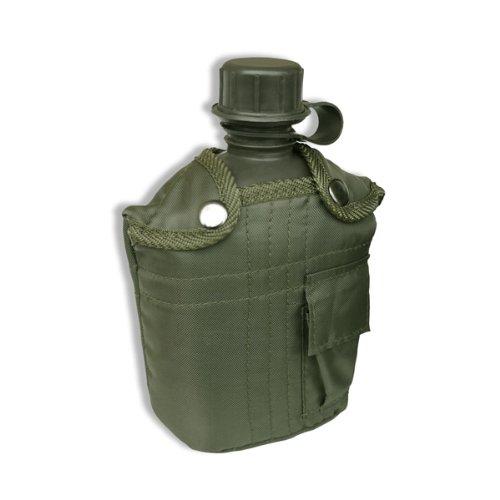 Gourde US Army - Capacité 1 Litre - Attache Alice + Etui fraîcheur - Coloris Kaki - Randonnée - Airsoft - Paintball - Camping - Montagne - Ski - Outdoor
