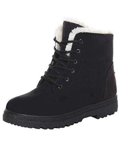 Minetom Donna Autunno Inverno Lace Up Pelliccia Neve Stivali Snow Boots Stivali Cavaliere Sneaker Moda Nero EU 41