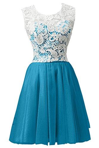 Sunvary Graceful collo a V garza lunghezza del ginocchio abiti di donna onore per feste 2016 donne Blu