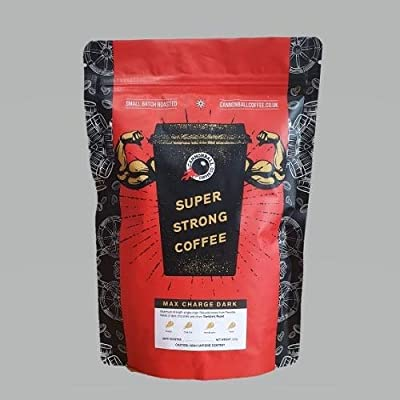 Very Strong Dark Roast Coffee: Maximum Charge Dark - Lab Certified World's Most Caffeinated Coffee | High Caffeine Coffee from Robusta Coffee Beans | 500g from Cannonball Coffee
