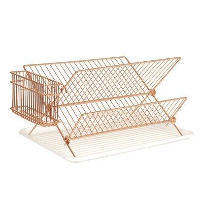 copper-dish-drainer-rack-with-drip-tray-and-cutlery-basket-foldable