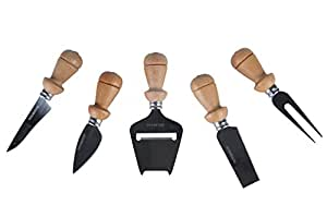 Occasion Luxury Beech Handle 5 piece Cheese Knife Set