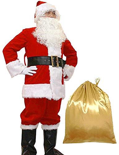 FromNlife FromNllife Herren Deluxe Weihnachtsanzug 10tlg. Weihnachten Erwachsene Santa Claus Weihnachtsmann Kostüm