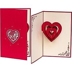 """Hochzeitskarte""""LOVE Herz"""" 3D Pop up, handgefertigt, Liebe, Karte zur Verlobung, Verlobungskarte, Hochzeitstag, Karte zum Geburtstag, Hochzeitseinladung"""