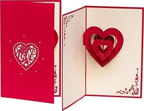 3D Hochzeitskarte LOVE Herz 3D Pop up, handgefertigt, Liebe, Karte zur Verlobung, Verlobungskarte, Hochzeitstag, Karte zum Geburtstag, Hochzeitseinladung