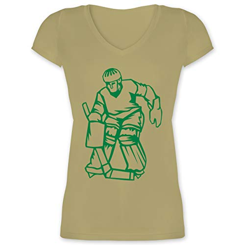 948ab26a279b Eishockey - Eishockey - XL - Olivgrün - XO1525 - Damen T-Shirt mit  V-Ausschnitt