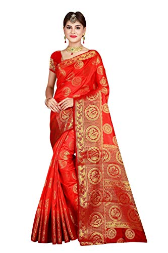 Mohit Creations Saree aus Pallu Banarasi mit ungesticktem Blusenteil - orange - Einheitsgröße -