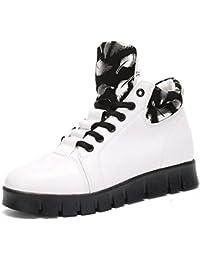 BUSL Zapatillas de deporte de mujer Zapatillas de deporte de bota de tacón Zapatos de tacón de aguja con cordones . white . 40