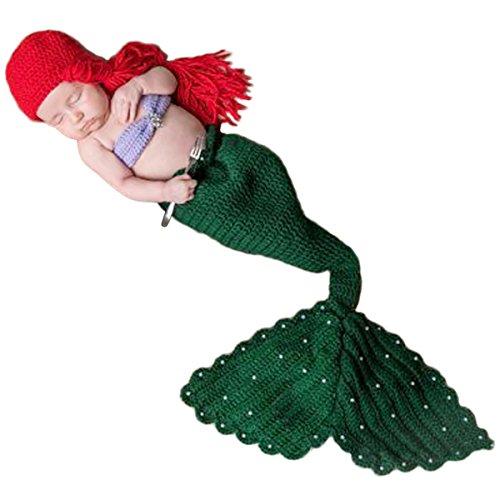 Jastore Baby neugeborenen Kostüm Fotografie Prop Süss Crochet häkeln Strickmütze Hut Cap Mädchen Jungen Windel (0-1 Monat, meerjungfrau) (Neugeborenen Meerjungfrau Kostüm)