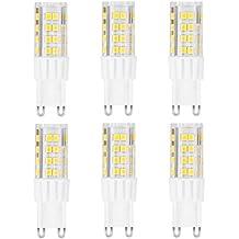 ARVIDSSON G9 LED Bombillas 6W equivalente de 60W lámparas halógenas, 450lm Blanco frío 5000K, 360 grados ángulo de haz, AC 220-240V, SMD 2835, Pack de 6