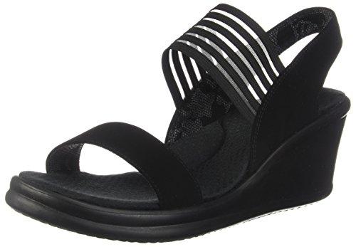 Skechers Cali Women's Rumblers Sci-Fi Wedge Sandal,Black,9 W US