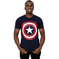 Marvel Hombre Captain America Distressed Shield Camiseta Medium Armada