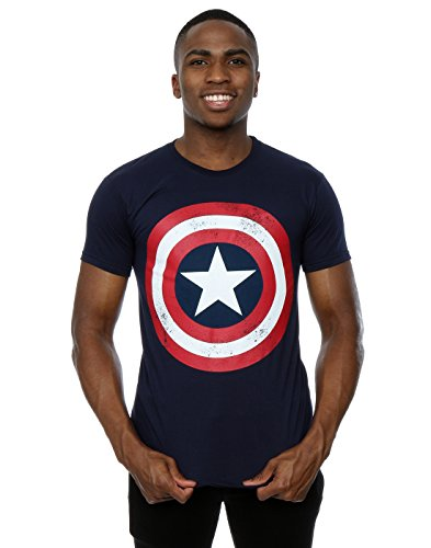 Marvel Hombres Captain America Distressed Shield Camiseta Large Azul marino