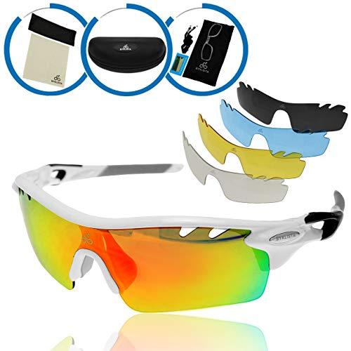 BYKLISTA Profi Sportsonnenbrille + Gratis eBook - Sonnenbrille polarisiert, UV400, Wechselgläser, unzerbrechlicher TR90 Rahmen - Sport-Brille zum Radfahren, Laufen, Klettern, Wandern - Weiß, Unisex