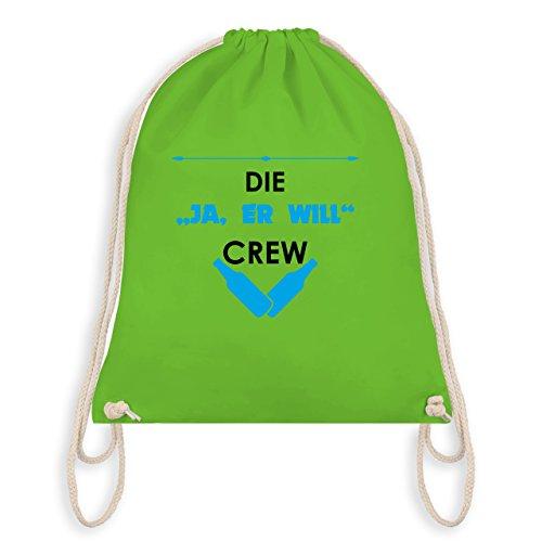 JGA Junggesellenabschied - Die Ja, er will Crew - Turnbeutel I Gym Bag Hellgrün