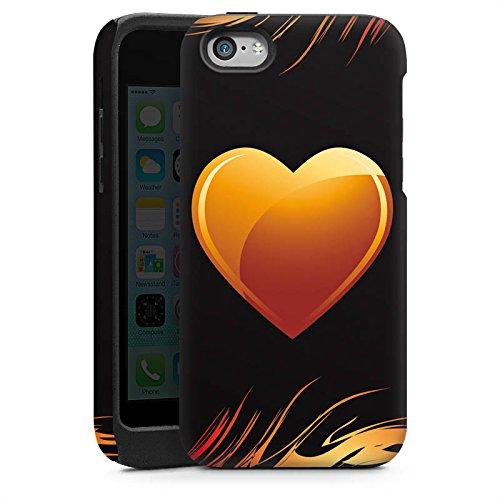 Apple iPhone 4 Housse Étui Silicone Coque Protection C½ur Flammes Amour Cas Tough brillant