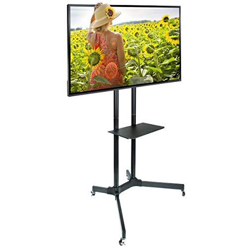 """Ergosolid Falco-40 - Supporto TV da pavimento, con ruote per schermi LCD LED e TV curvi da 30""""-65"""", con portata max. 60 kg, inclinabile"""