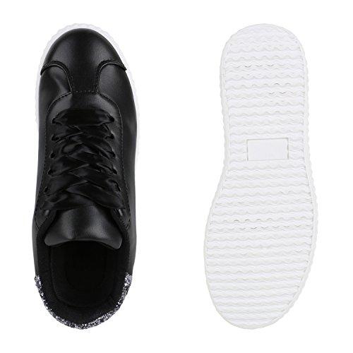 Sneakers Low Damen Lack & Glitzer Turnschuhe Freizeit Schuhe Schwarz Agueda