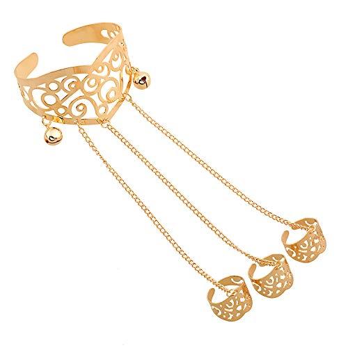 AZUO Armband Mode Vintage Geschnitzte Durchbrochene Armband Quaste Kette DREI-Finger-Ring EIN,Gold