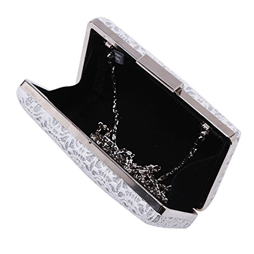 Damara da donna elegante pizzo Hollow Out metallico sera Box Borsa Black