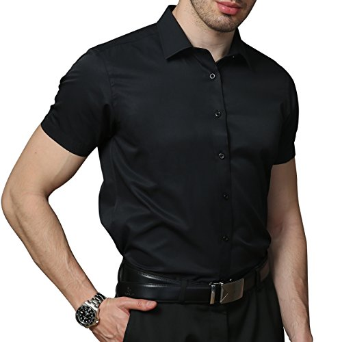 Kelasip camicia da uomo a manica corta,camicia classica in fibra di bambù,camicia business da uomo slim fit,camicia casual,con manica corta da eu 38 a eu 44,four colori