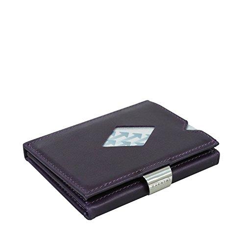 EXENTRI Wallet Herren Damen Designer Geldbörse für 12 Kreditkarten Echtleder Lila gefüttert. 2 Karten blitzschnell mit Daumen verfügbar. Geldscheine Quittungen Fahrkartenfach. RFID Block
