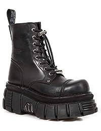 080de74b368 New Rock M.NEWMILI083-S21 Bottes Gothiques Noires Militaire Unisexe Half  Tour Chaussures
