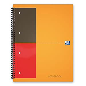 Oxford International A4+ Poly Cover Activebook, Narrow Ruled with Margin and Perforated Notebook Including Repositionable Divider, 160 Page, 1 Notebook