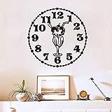 Lovemq Stickers Muraux Alimentaire Cuisine Salle De Décoration Horloge Avec Glace-Crème Bricolage Vinyle Maison Stickers Art 44X44Cm