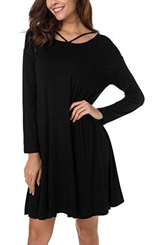 Urban GoCo Donna Abito Camicia Lungo Tops Casual Criss Cross Vestito Tunica Nero