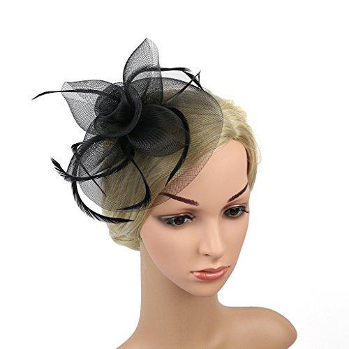 dressfan Fascinator Mesh Blume Feder Haarspange Zubehör Brosche Corsage für Hochzeit