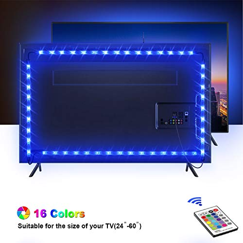 Tira LED TV 2.2M, OMERIL 5050 Tiras LED USB Impermeable con Control Remoto, 16 RGB Colores y 4 Modos, Retroiluminacion LED de TV para Cine en Casa, HDTV/PC Monitor (24-60 Pulgada) - 2x50cm+2x60cm