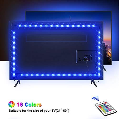 Retroilluminazione TV LED, OMERIL 2.2M Striscia LED RGB con 16 Colori e 4 Modalità per HDTV da 24-60 Pollici/PC Monitor, SMD 5050 Retroilluminazione TV Alimentata USB con 24 Tasti Telecomando