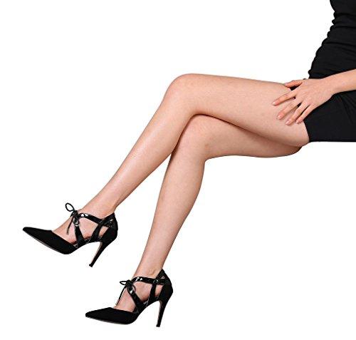 Guoar - Scarpe chiuse Donna (Schwarz Samt)